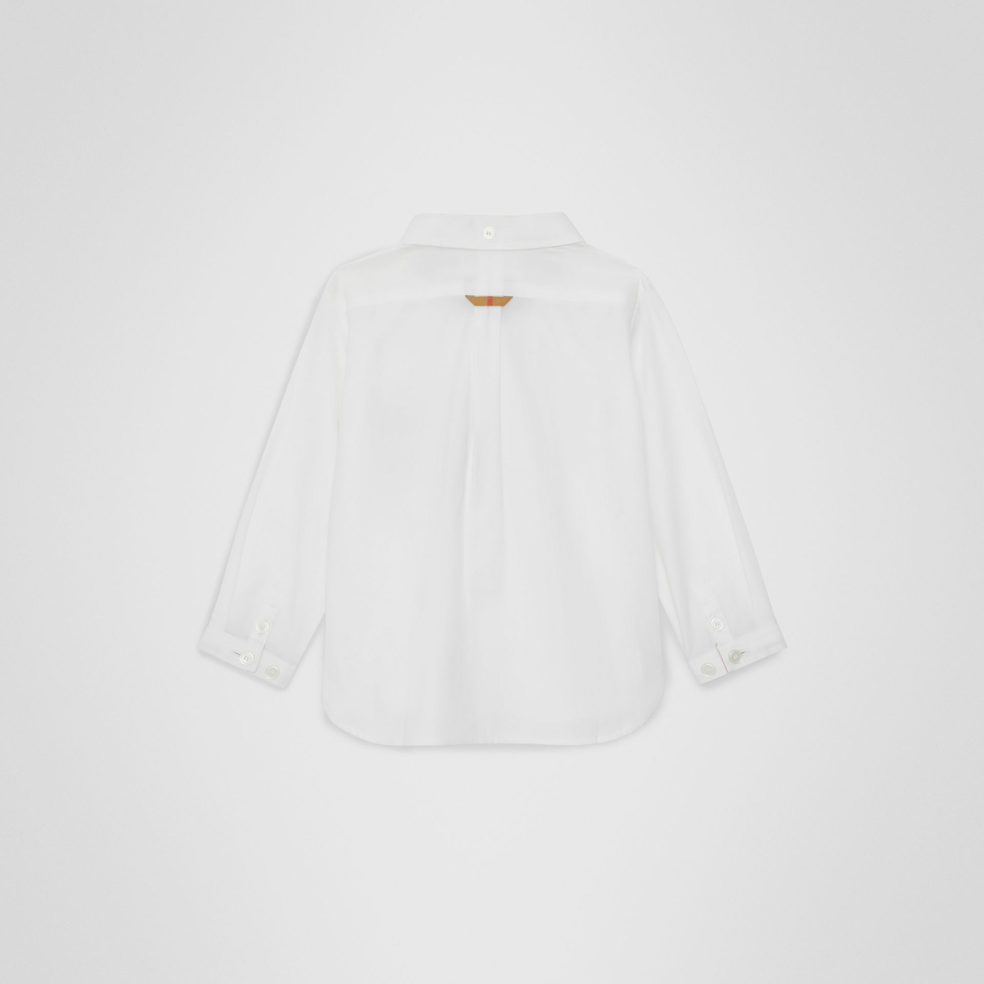 Check Detail Cotton Oxford Shirt in White - Children | Burberry - gallery image 3