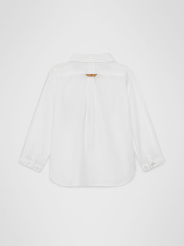 Check Detail Cotton Oxford Shirt in White - Children | Burberry Canada - cell image 3