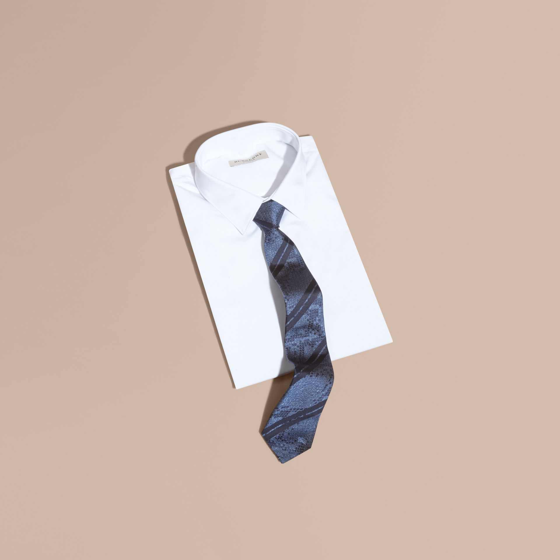 Mineral blue Modern Cut Python Jacquard Silk Tie Mineral Blue - gallery image 3