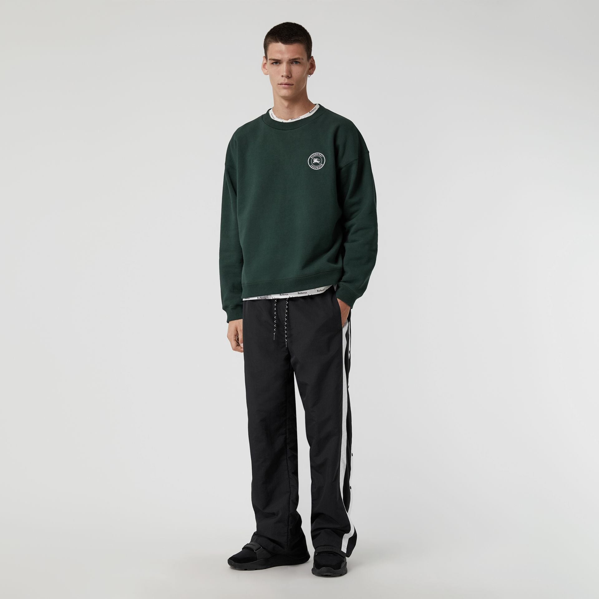 Embroidered Logo Jersey Sweatshirt in Forest Green - Men | Burberry Australia - gallery image 0