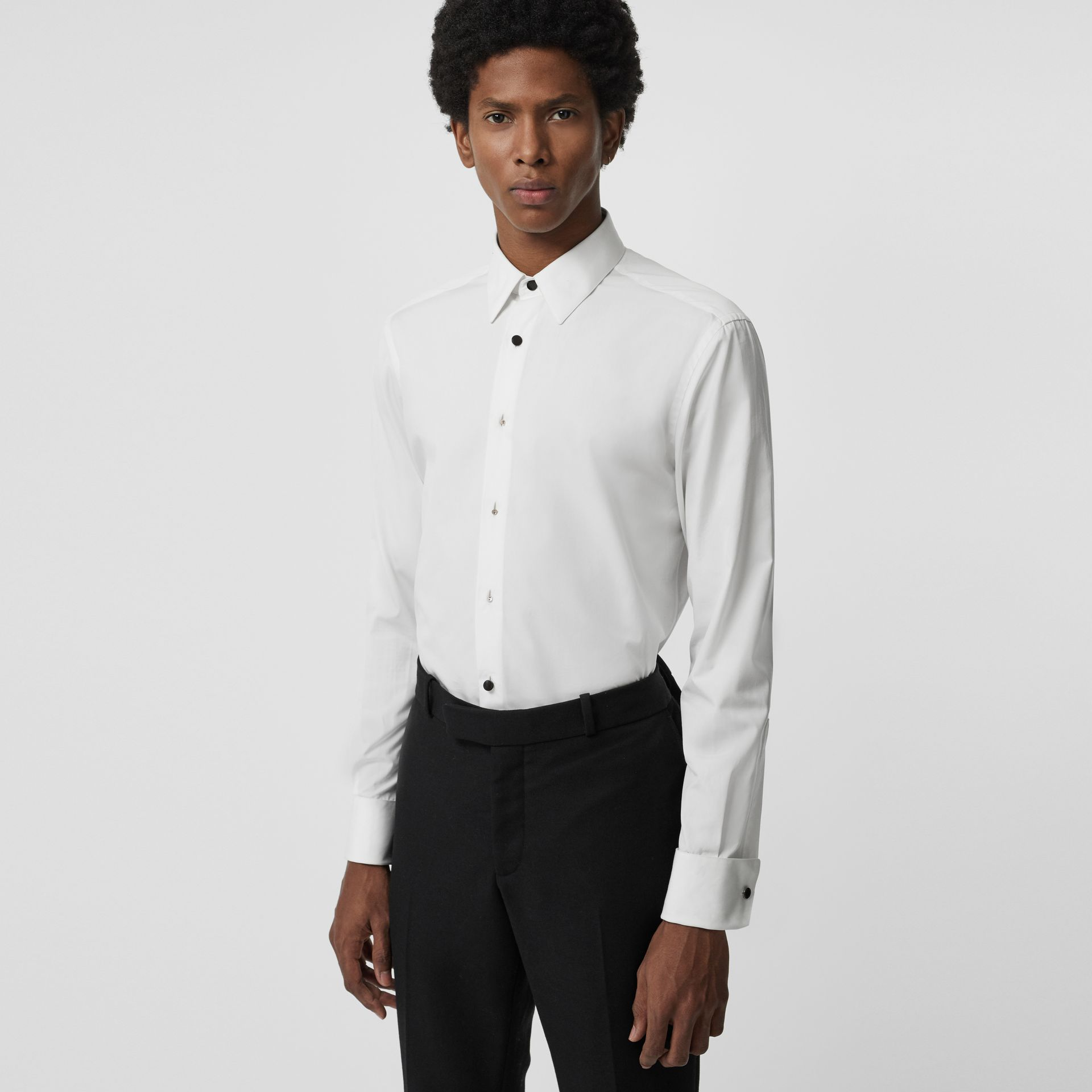 Classic Fit Cotton Poplin Dress Shirt in White - Men | Burberry - gallery image 0