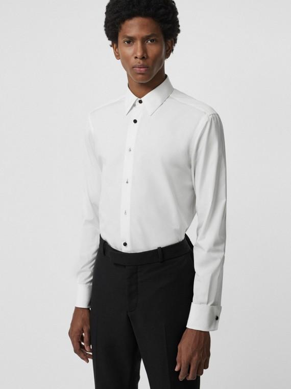 Camisa social de popeline de algodão com corte clássico (Branco)