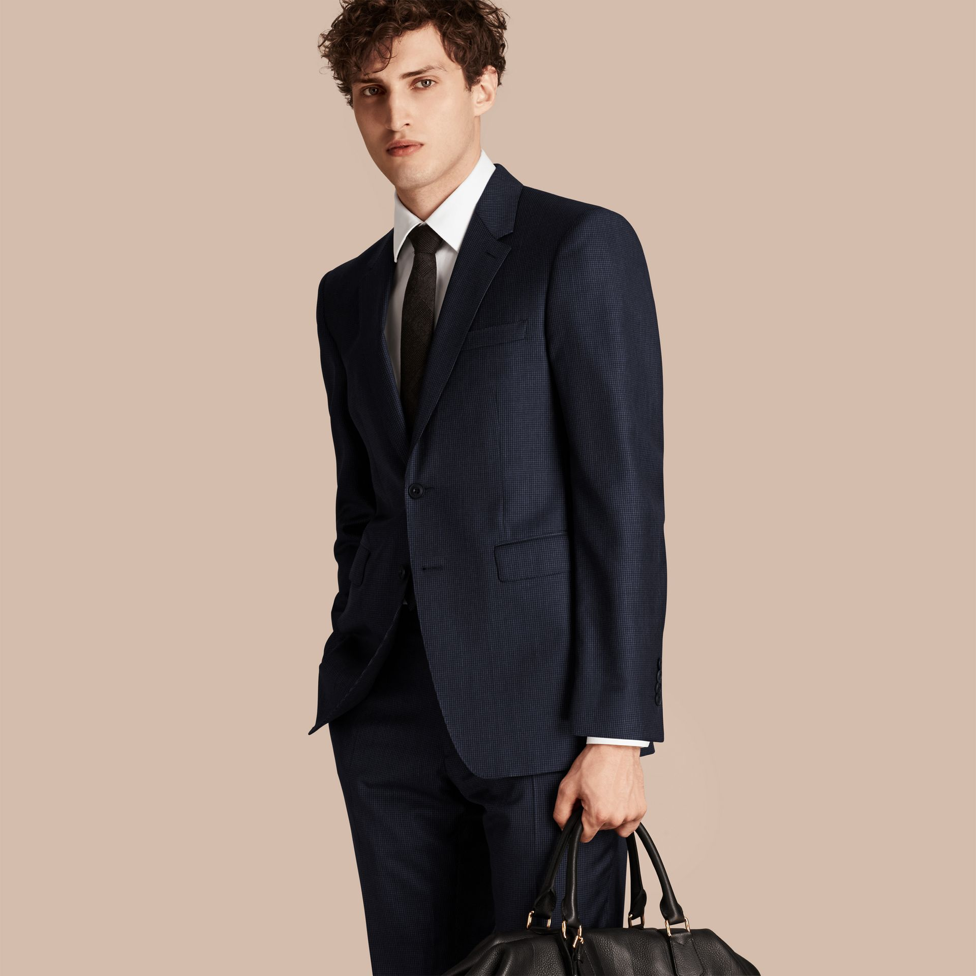 Navy Modern Fit Micro Check Part-canvas Suit - gallery image 8