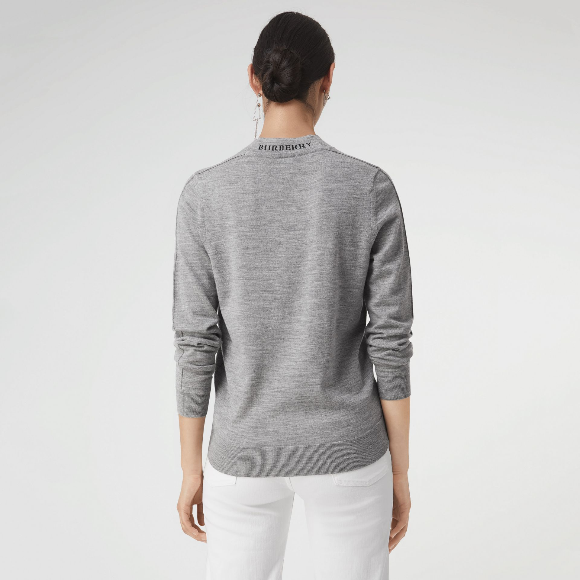 Merino Wool Crew Neck Sweater in Grey Melange - Women | Burberry - gallery image 2
