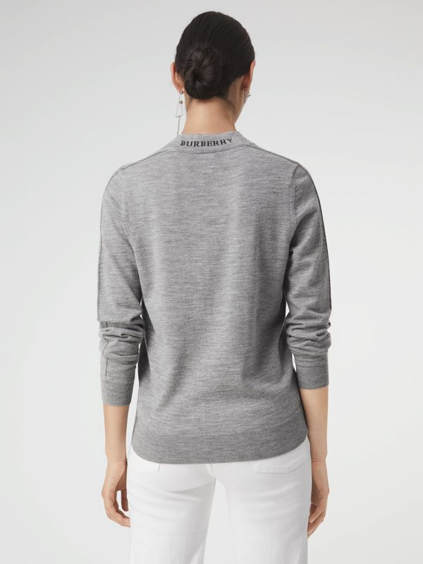 Merino Wool Crew Neck Sweater in Grey Melange - Women | Burberry Australia - cell image 2