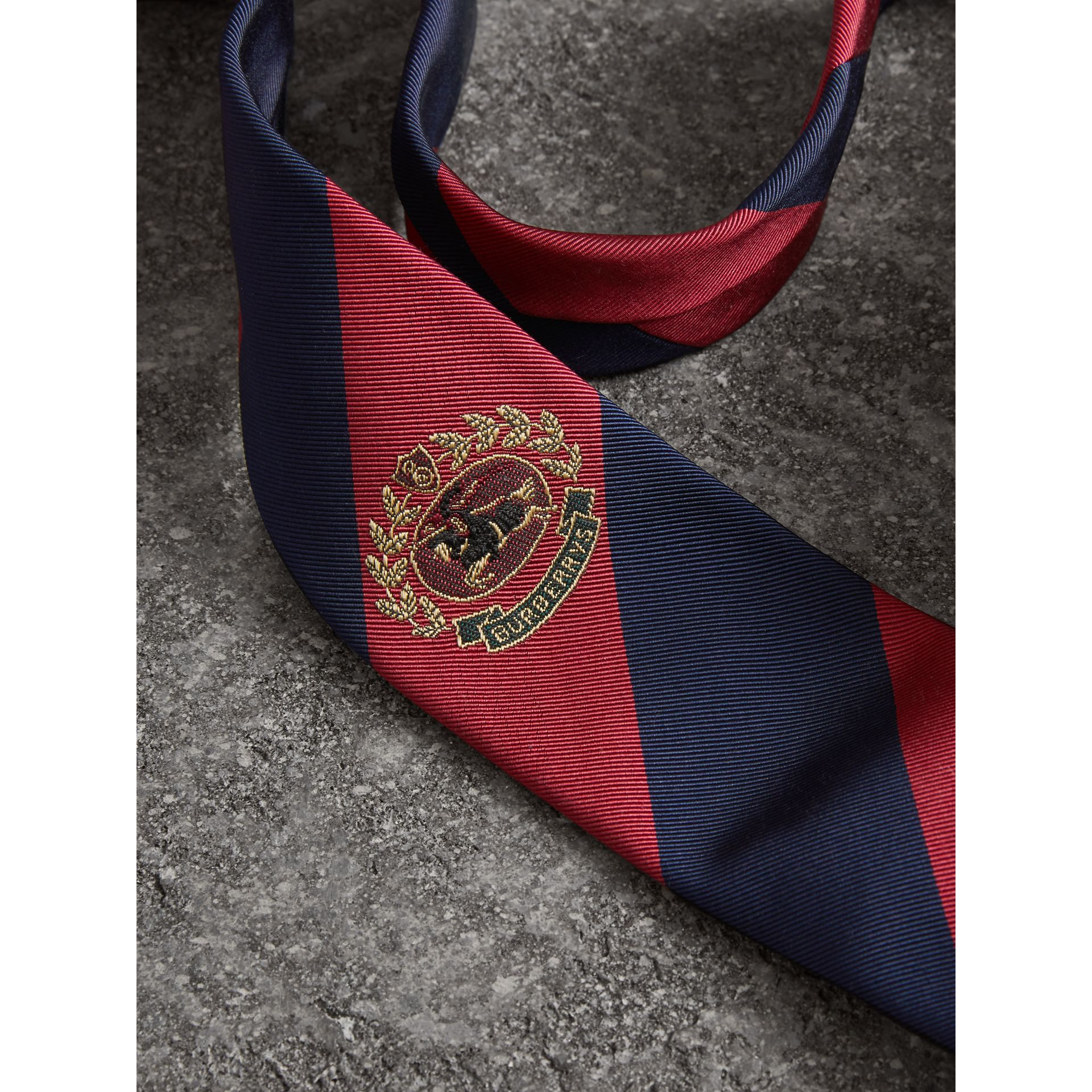 Modern Cut Archive Logo Striped Silk Tie in Navy - Men | Burberry Australia - gallery image 1