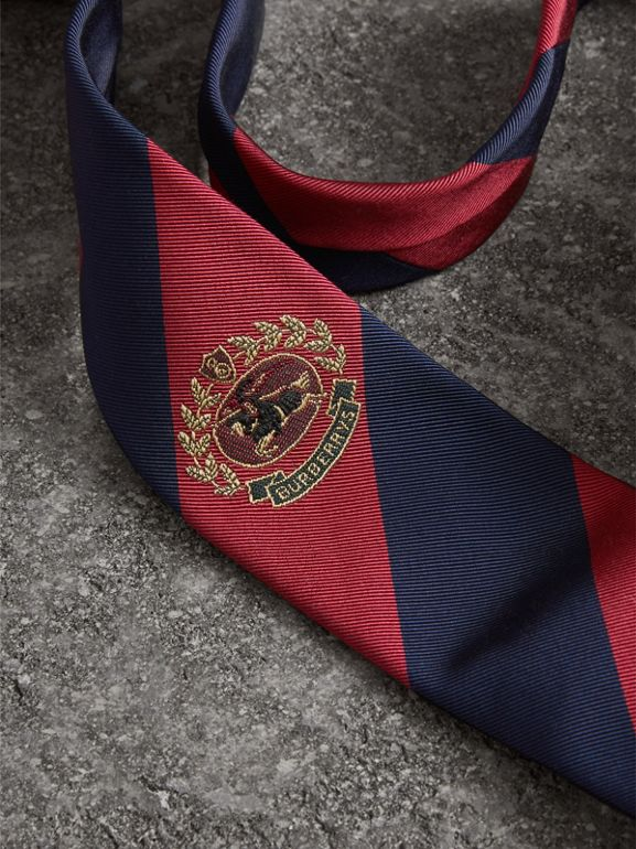 Modern Cut Archive Logo Striped Silk Tie in Navy - Men | Burberry Australia - cell image 1