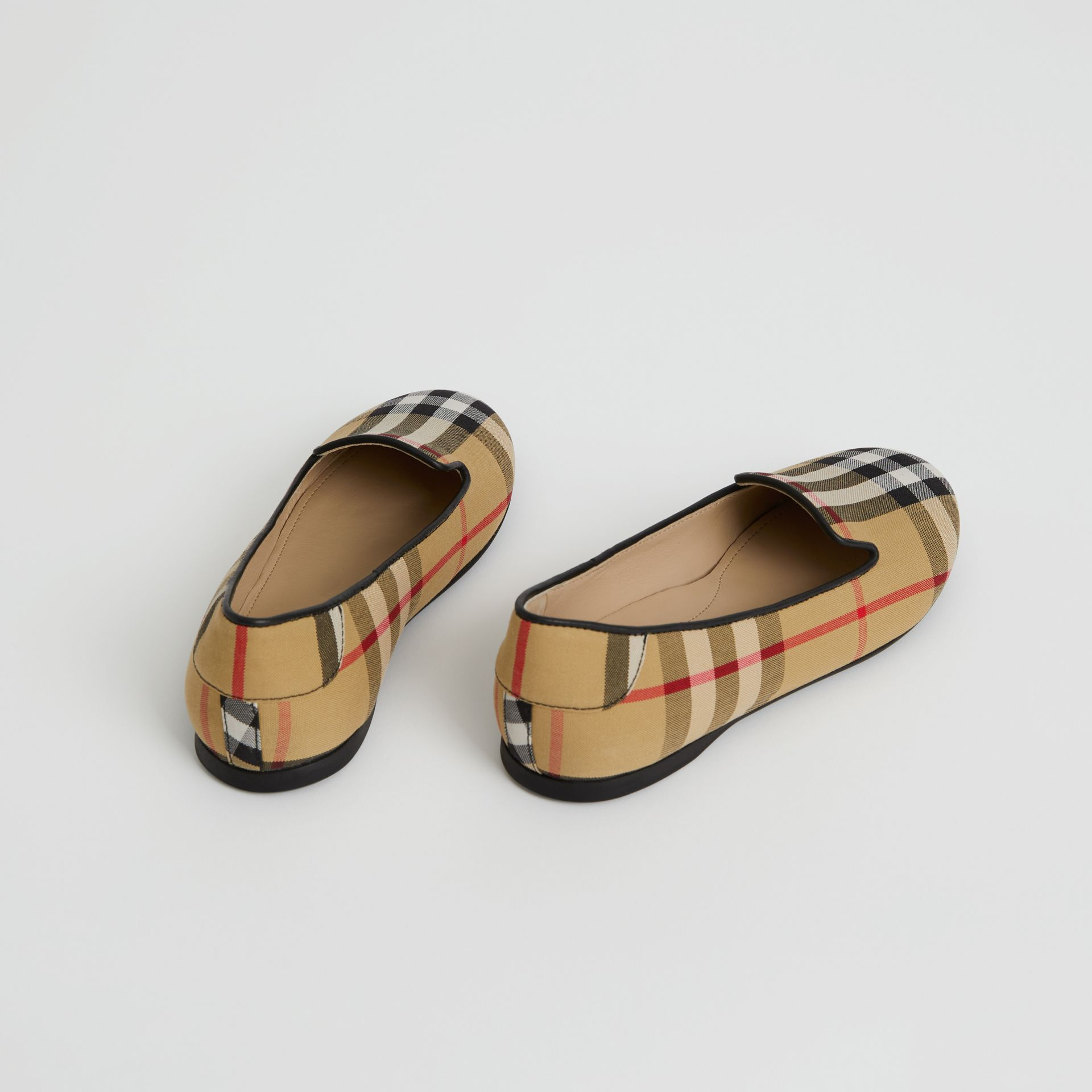 Chaussures sans lacets à motif Vintage check (Jaune Antique) | Burberry - photo de la galerie 2