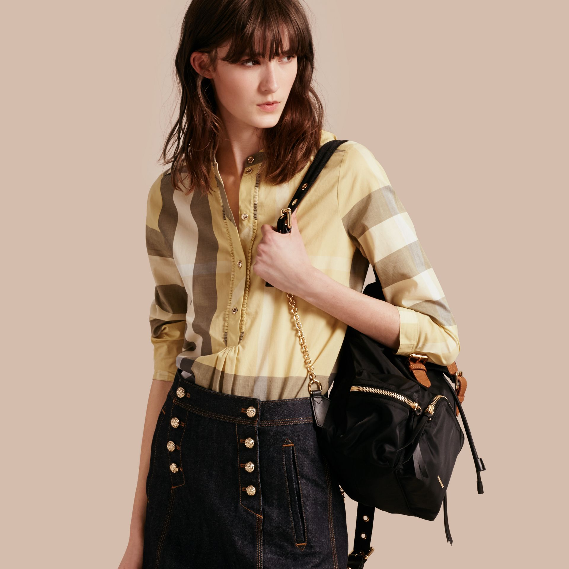 Camomile yellow Check Cotton Tunic Shirt - gallery image 1