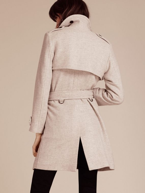 White grey Cashmere Wrap Trench Coat - cell image 2