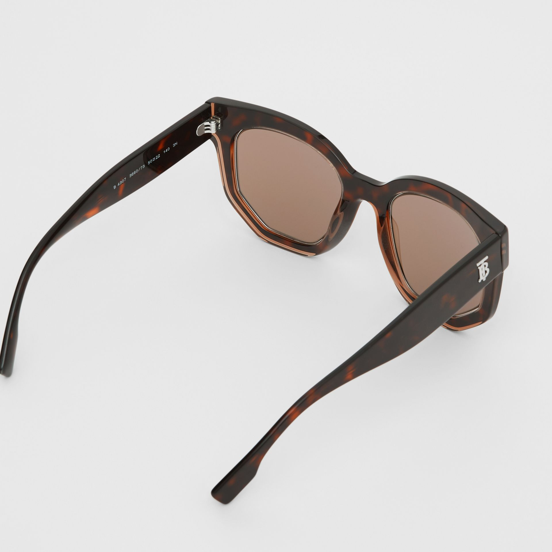 Geometric Frame Sunglasses in Tortoiseshell - Women | Burberry - gallery image 4