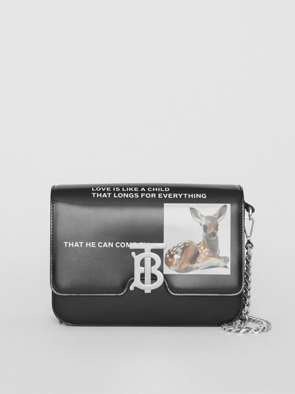 Kleine TB Bag aus Leder mit Aufdruck (Schwarz)