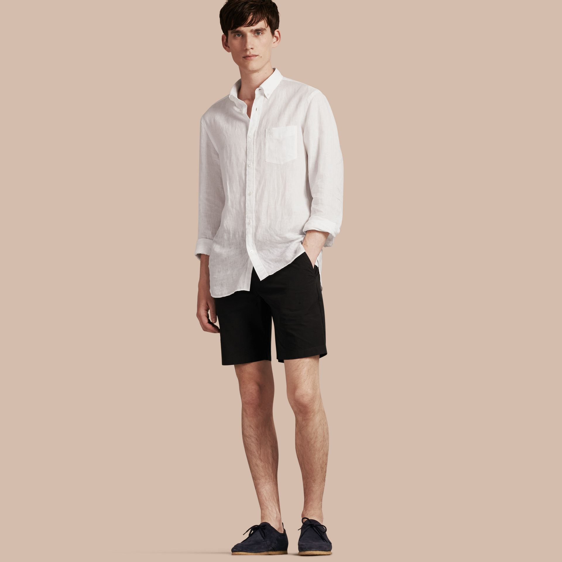 Black Cotton Poplin Chino Shorts Black - gallery image 1