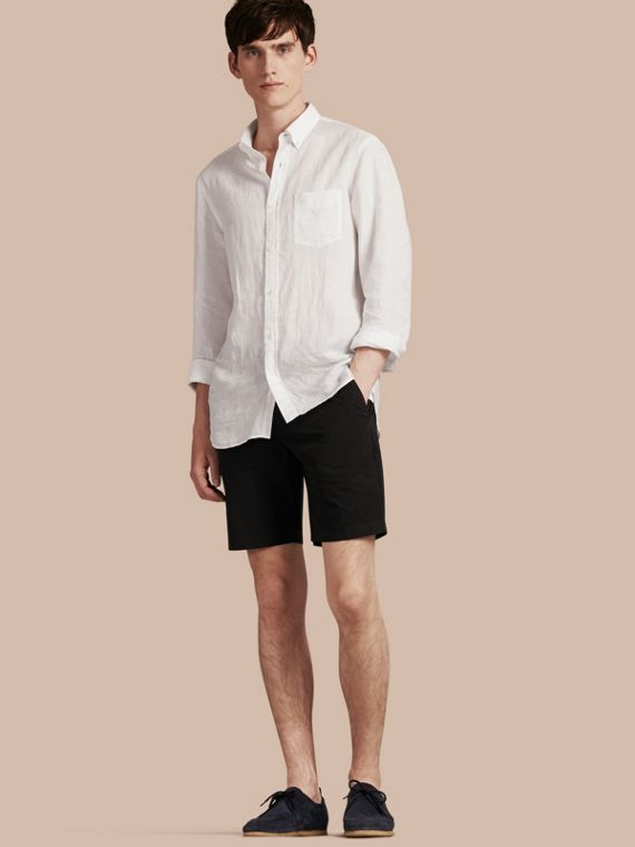 Cotton Poplin Chino Shorts in Black - Men | Burberry
