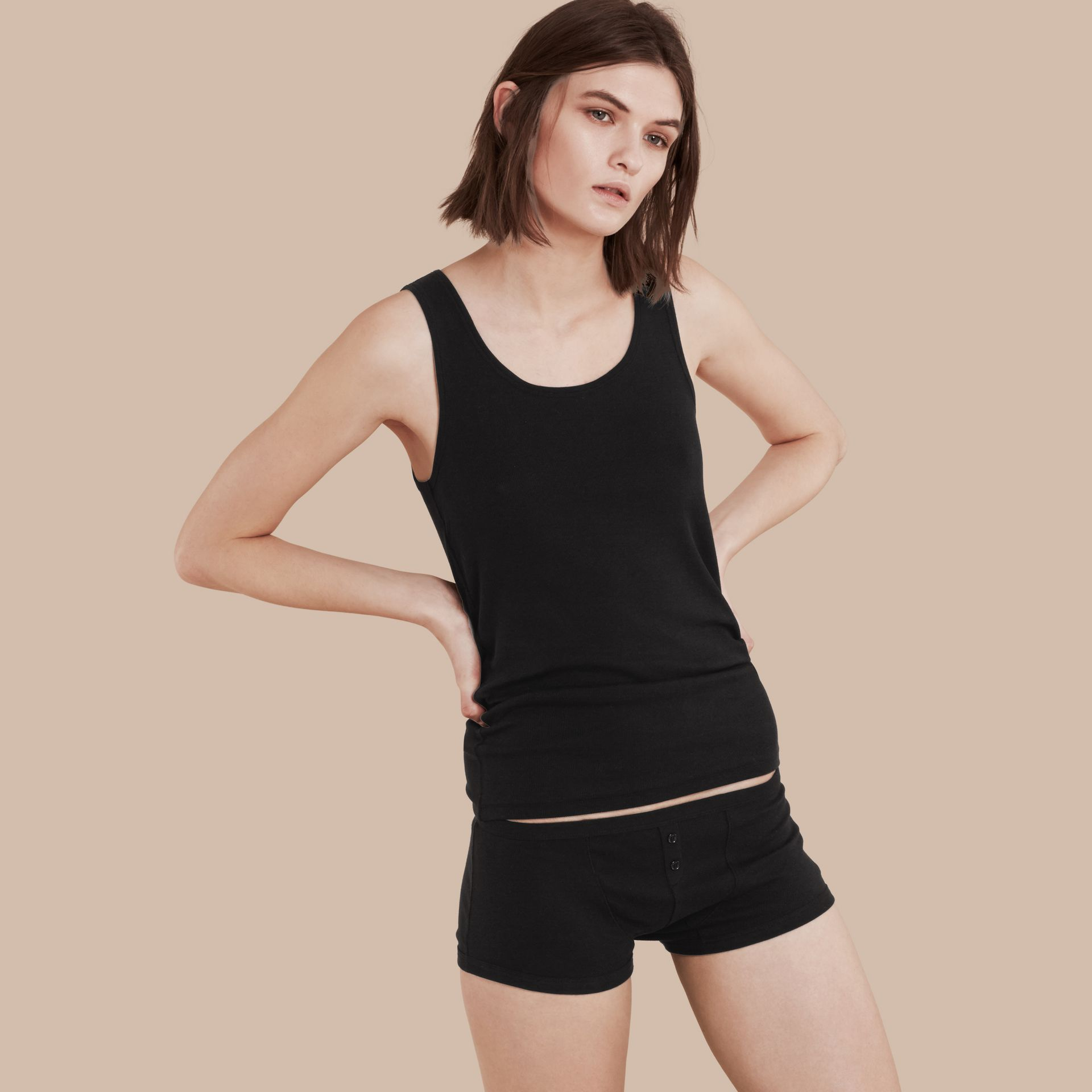 Black Stretch Cotton Lyocell Vest Black - gallery image 1