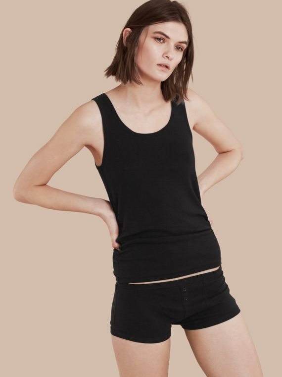 Stretch Cotton Lyocell Vest Black