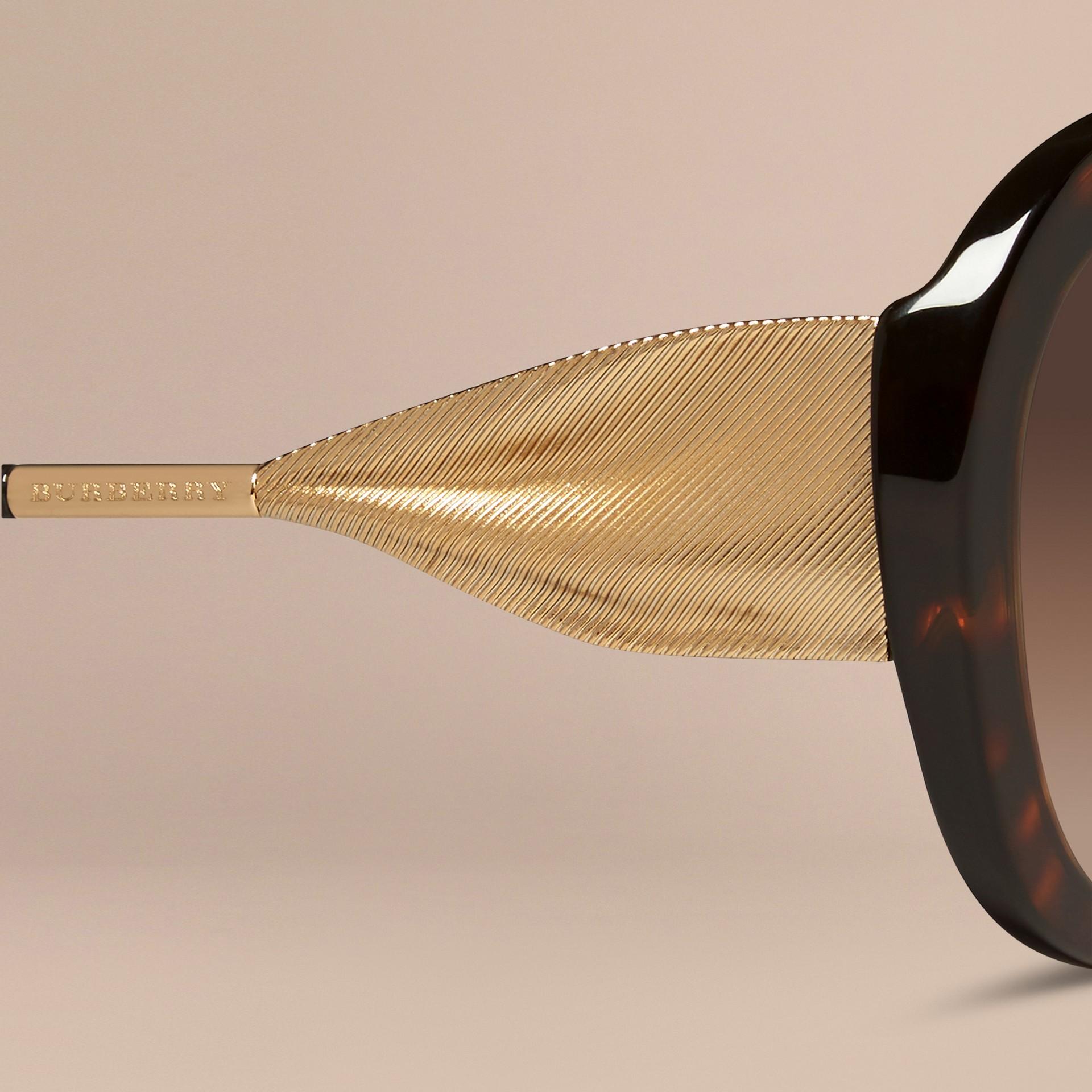 Ebony Gabardine Collection Oversize Round Frame Sunglasses Ebony - gallery image 2