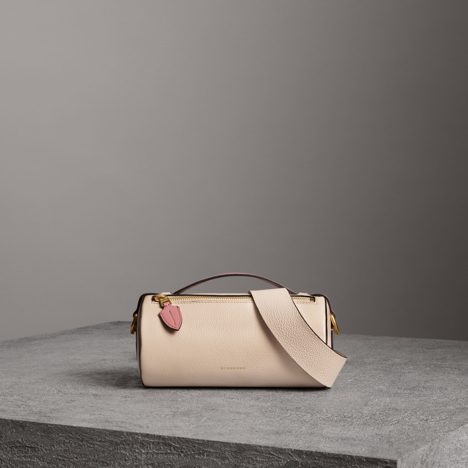 The Leather Barrel Bag in Limestone/dusty Rose - Women | Burberry - gallery image 0