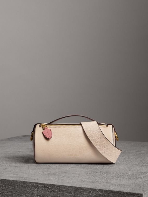 The Leather Barrel Bag in Limestone/dusty Rose