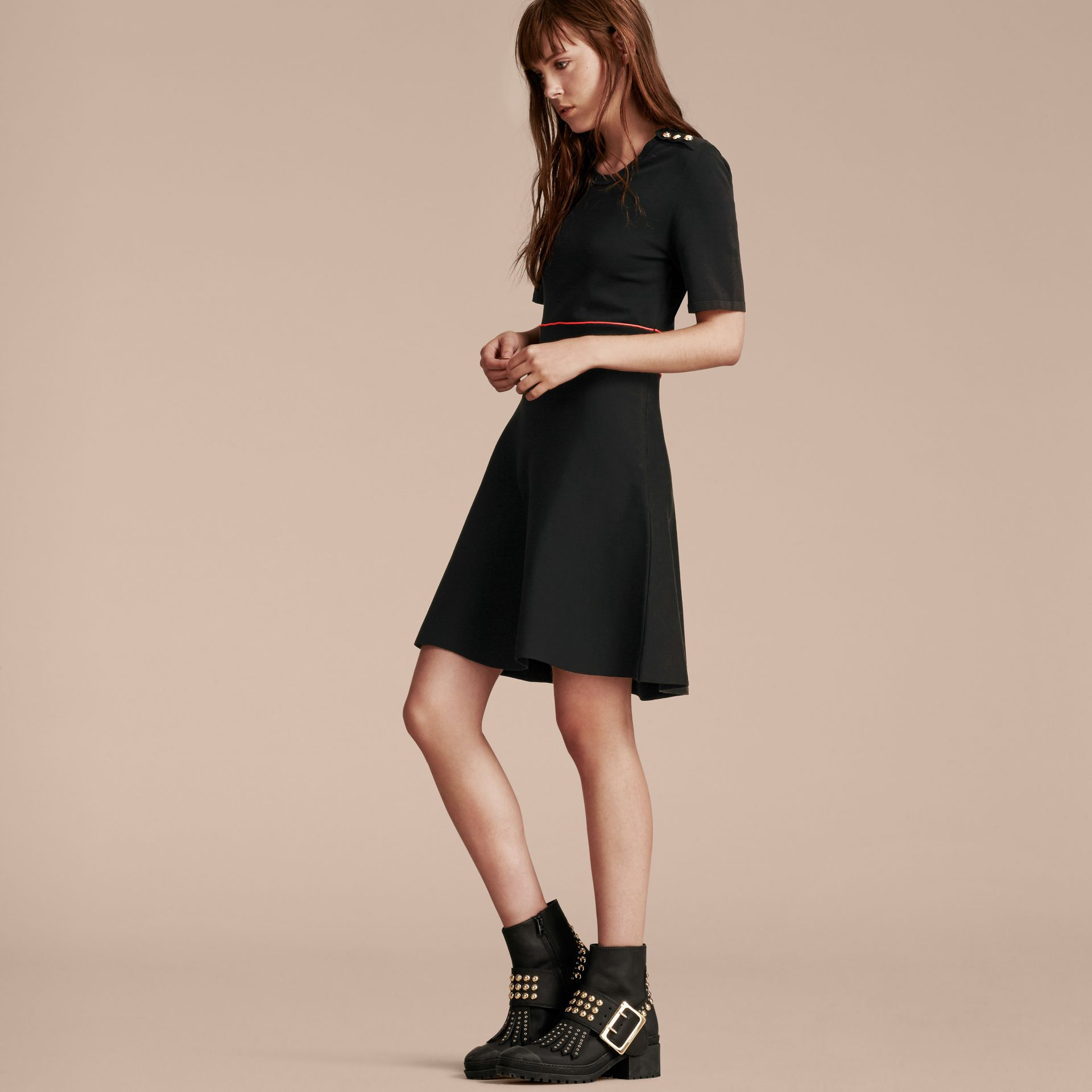Black Technical Stretch Cotton Military Dress - gallery image 6