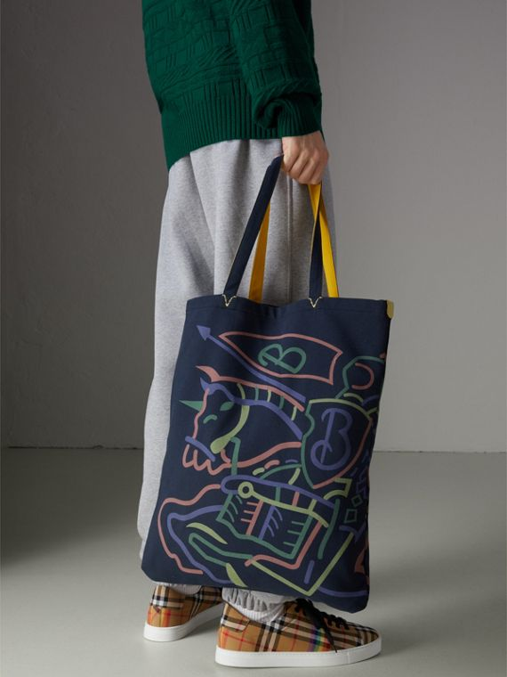 Large Archive Logo Jersey Shopper in Navy