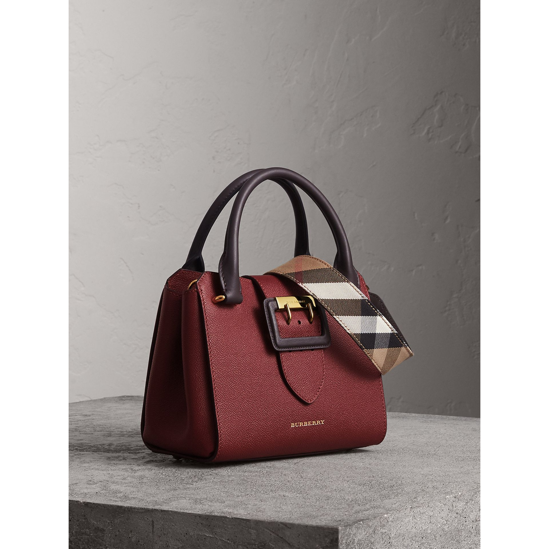 The Small Buckle Tote in Two-tone Leather in Burgundy - Women | Burberry - gallery image 7