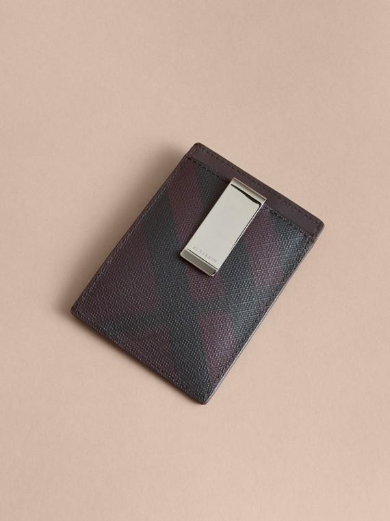 London Check Money Clip Card Case Deep Claret - cell image 2