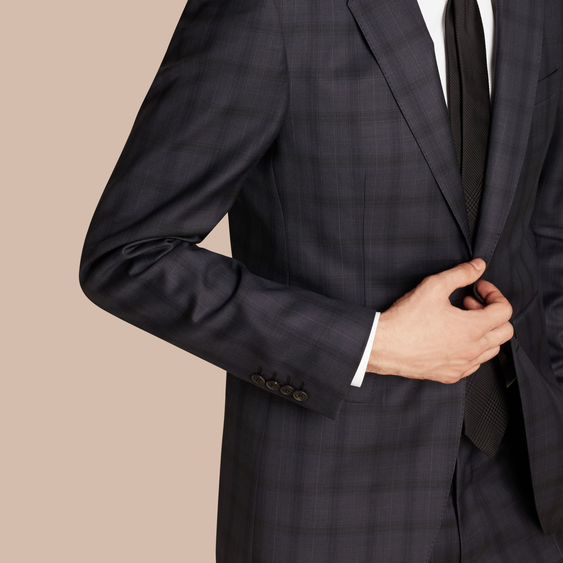 Navy Modern Fit Check Wool Part-canvas Suit - gallery image 5