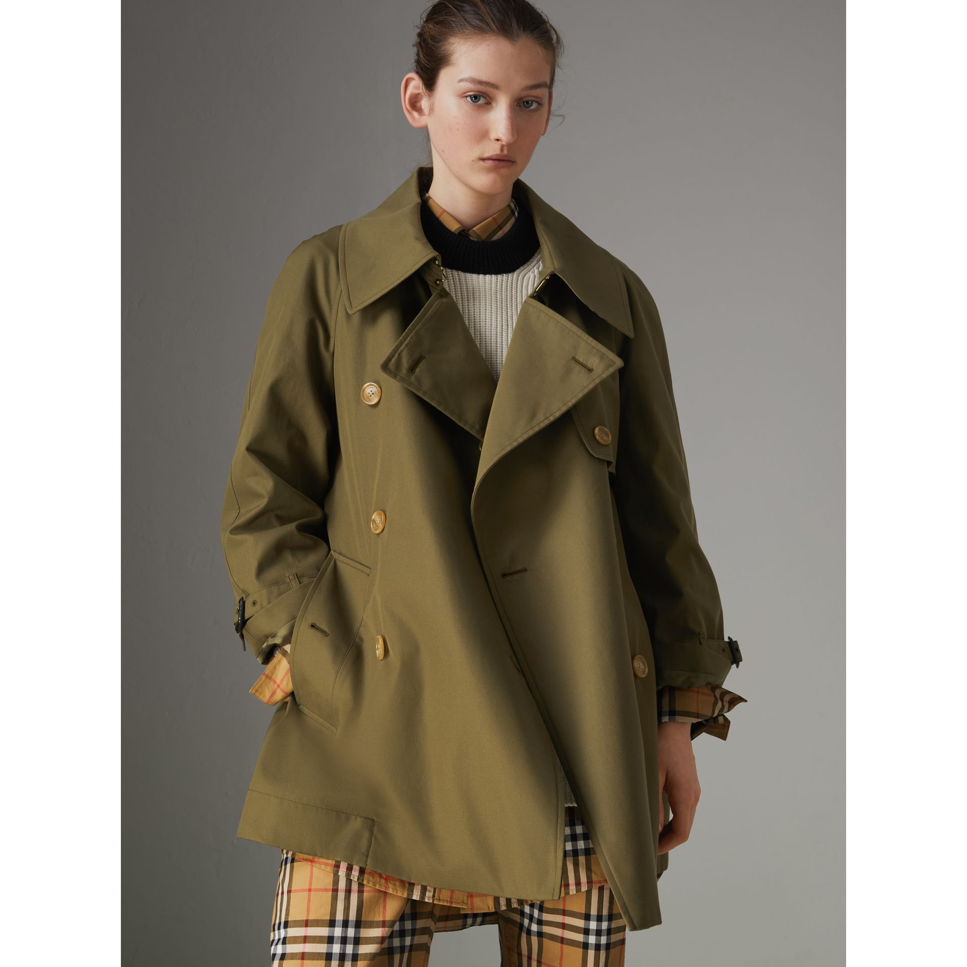 Exaggerated Collar Cotton Gabardine Trench Coat in Military Olive - Women | Burberry - gallery image 5