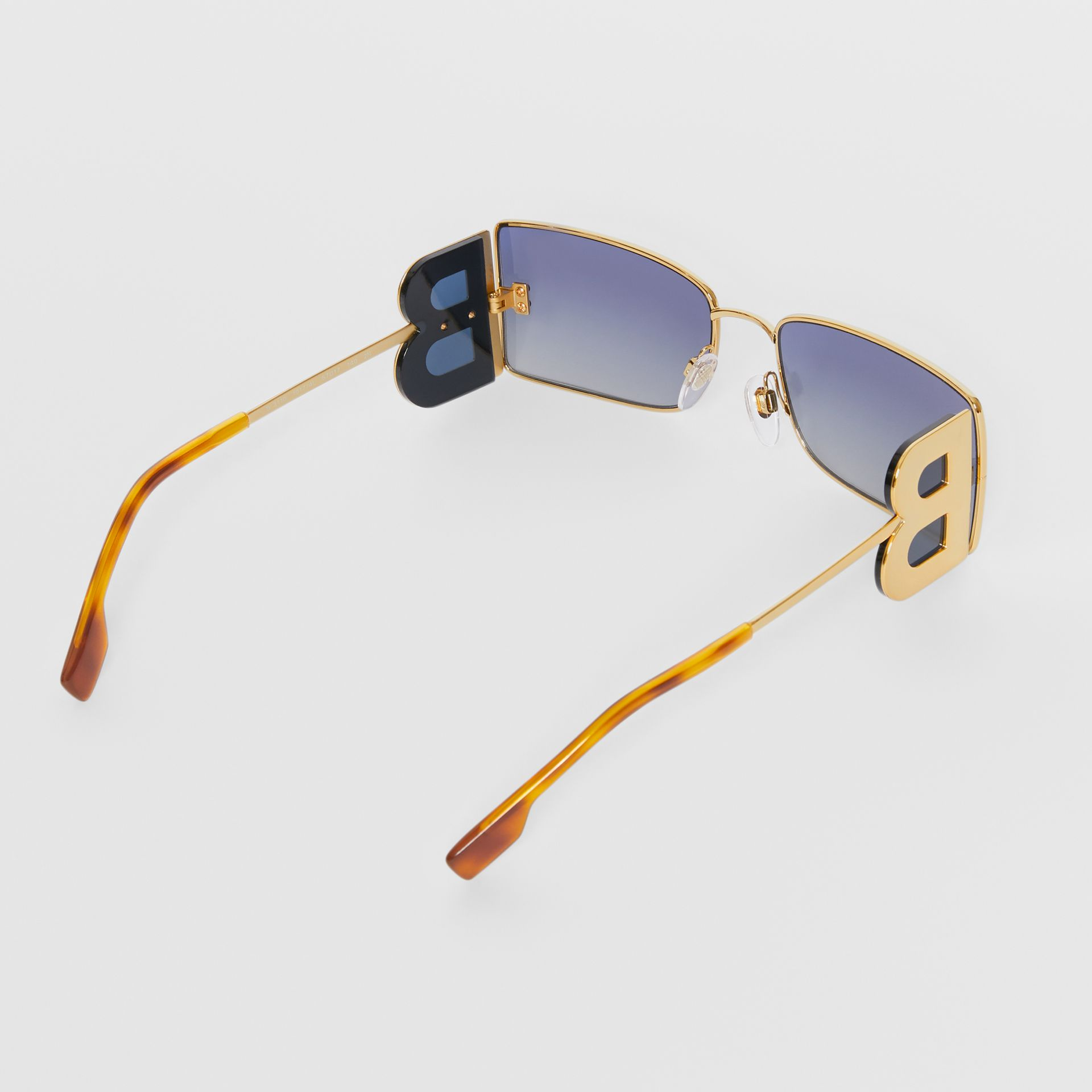 'B' Lens Detail Rectangular Frame Sunglasses in Amber Tortoiseshell - Women | Burberry - gallery image 5