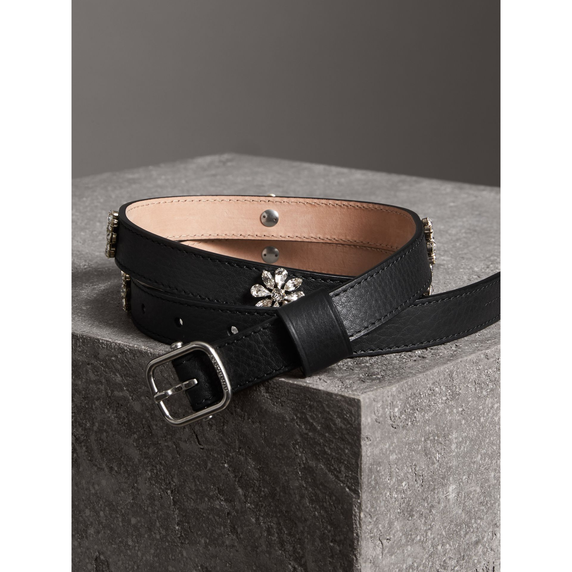 Crystal Daisy Leather Belt in Black - Women | Burberry - gallery image 3