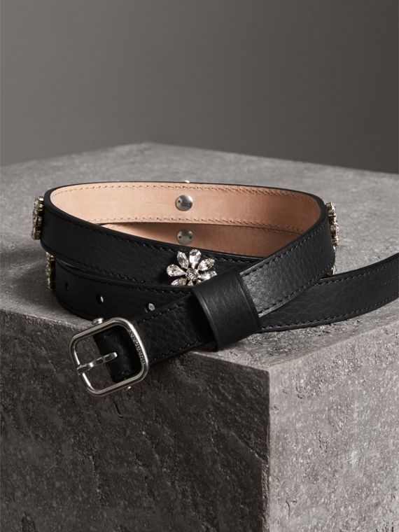 Crystal Daisy Leather Belt in Black - Women | Burberry - cell image 3