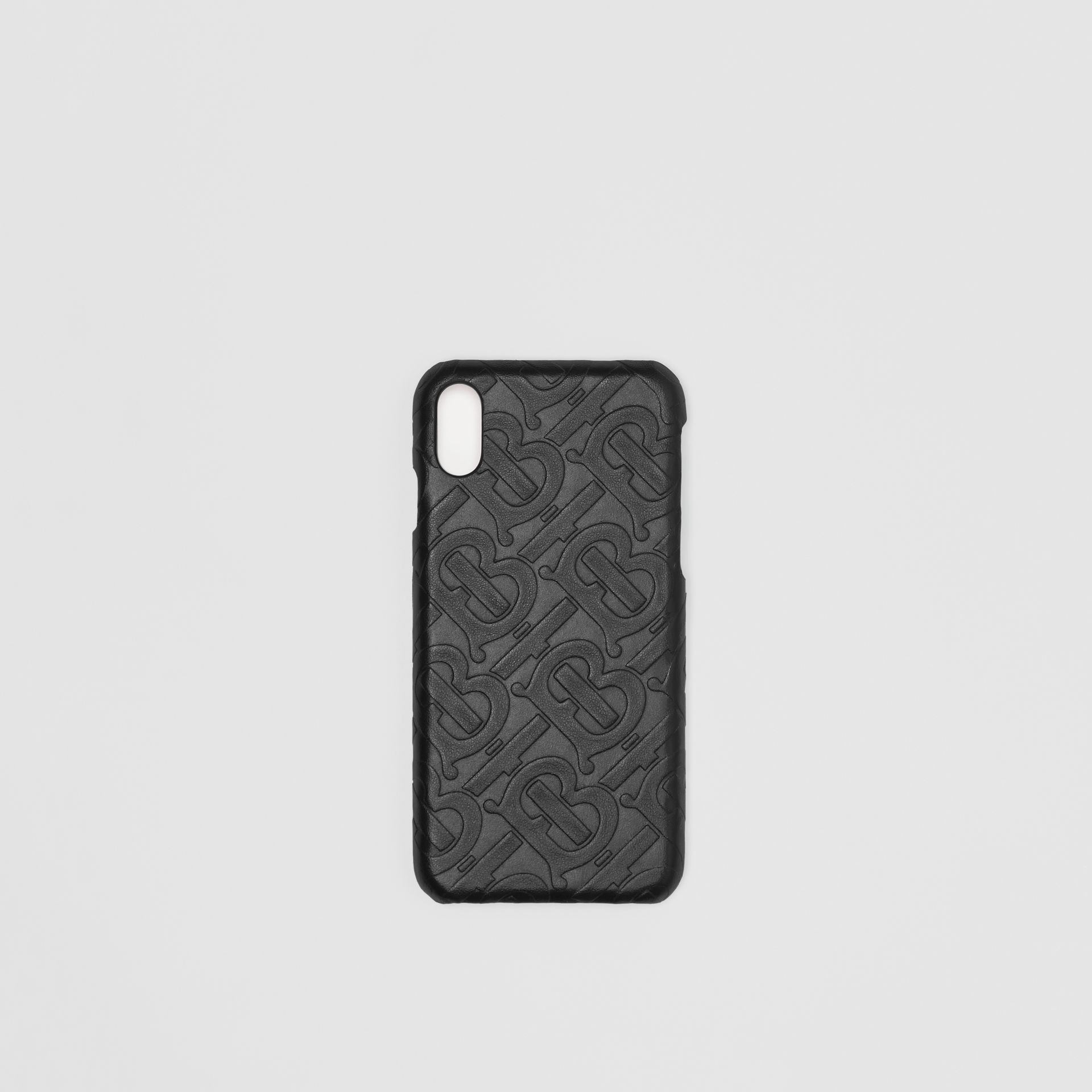 Coque pour iPhone X/XS en cuir Monogram (Noir) | Burberry - photo de la galerie 0