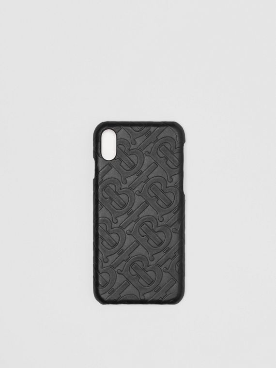 Monogram Leather iPhone X/XS Case in Black