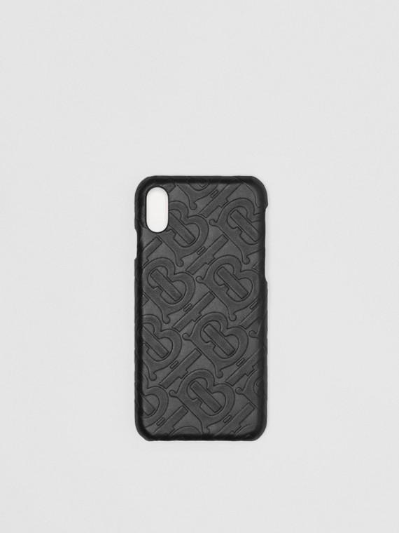 Capa de couro para iPhone X/XS com monograma (Preto)
