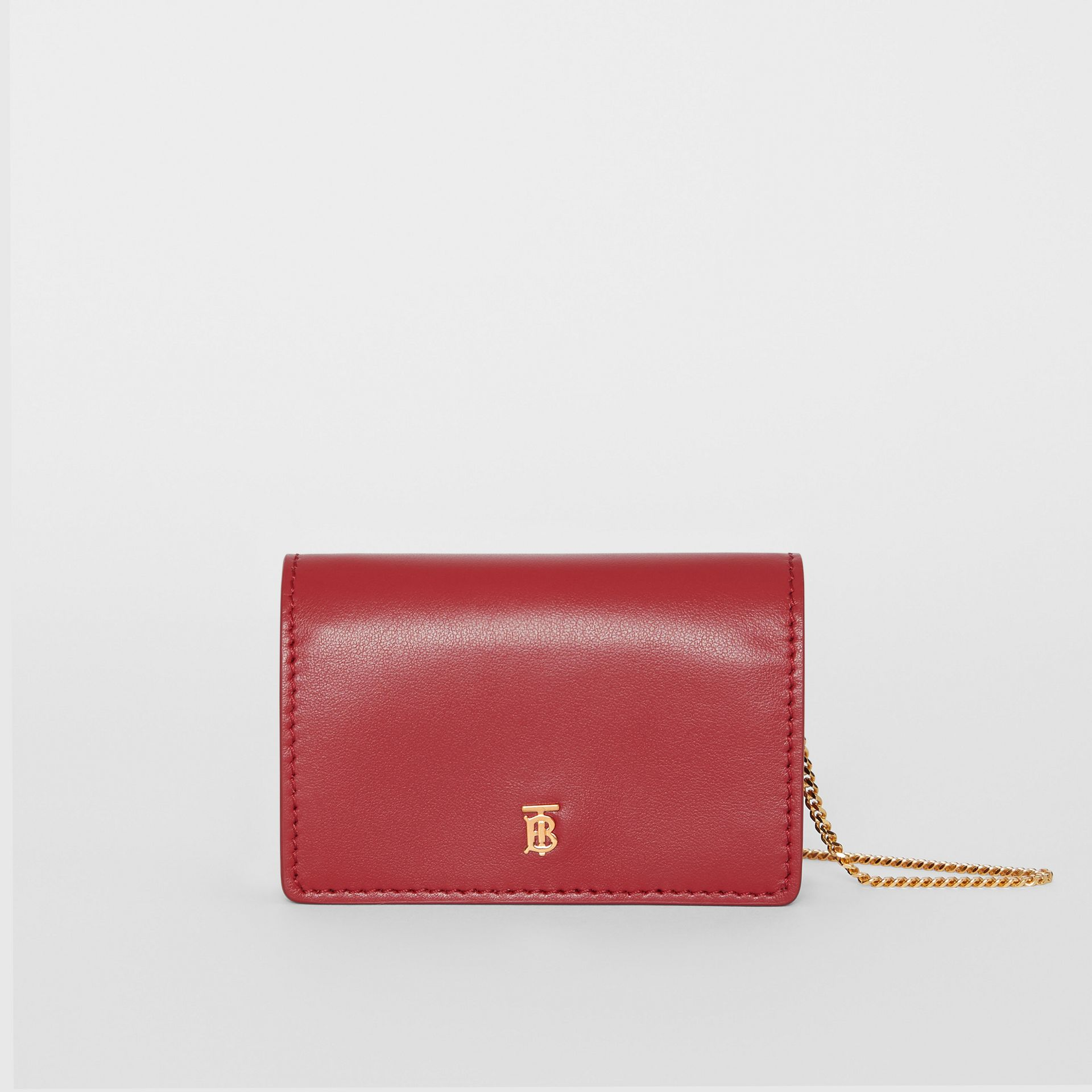 Leather Card Case with Detachable Strap in Crimson - Women | Burberry - gallery image 0