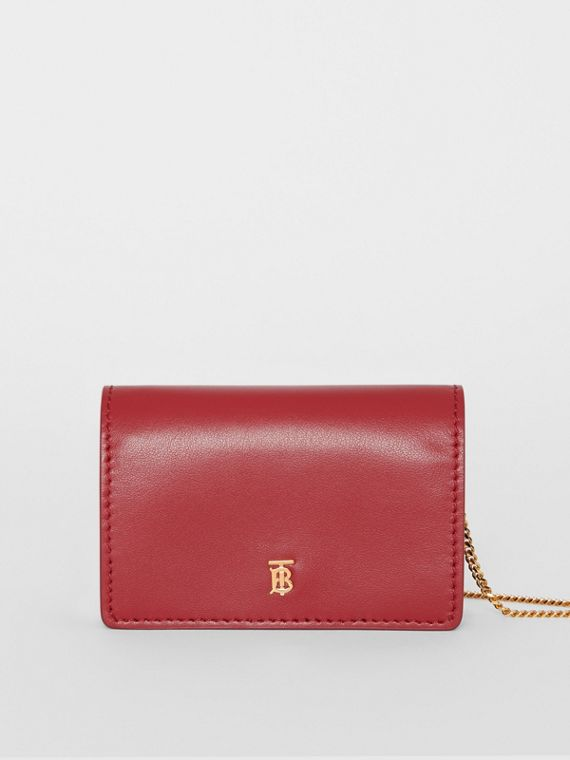 Leather Card Case with Detachable Strap in Crimson