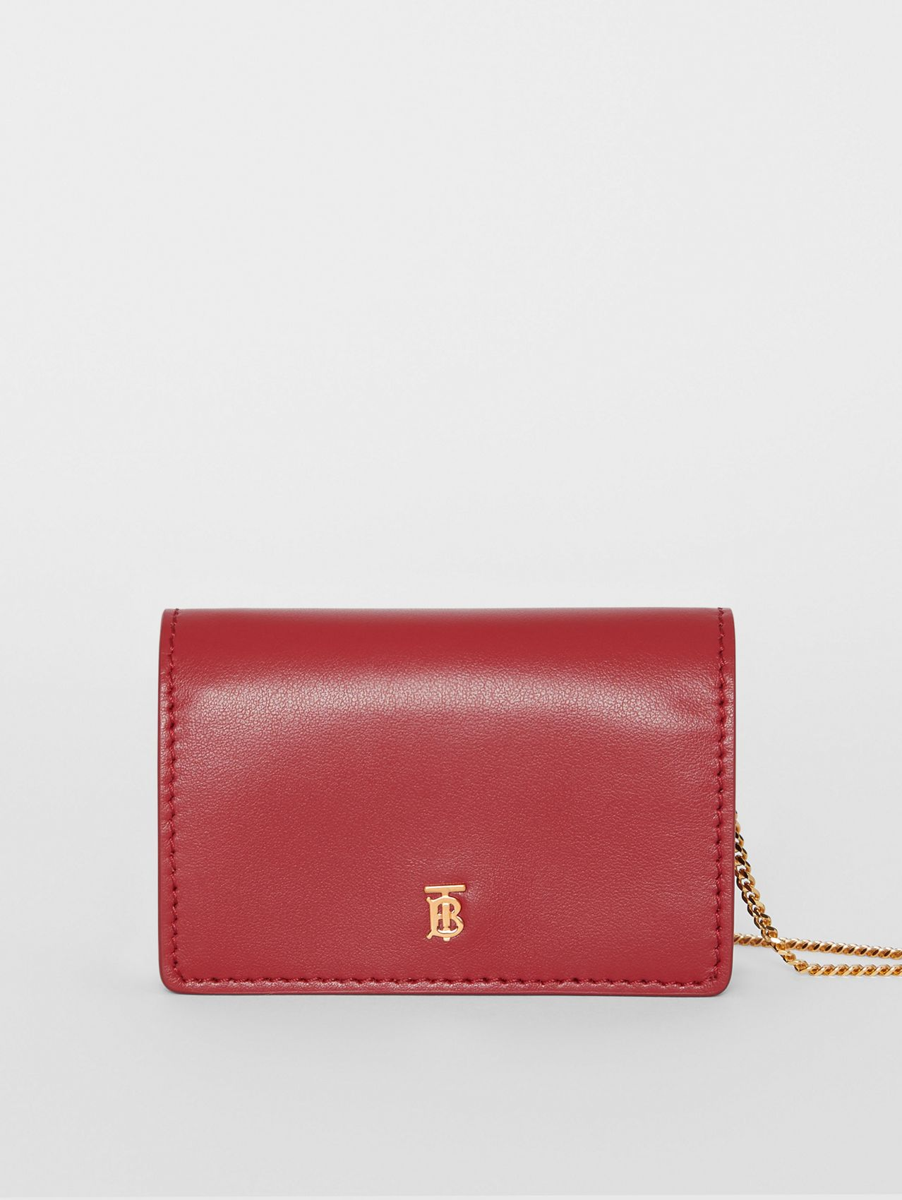 Leather Card Case with Detachable Strap (Crimson)