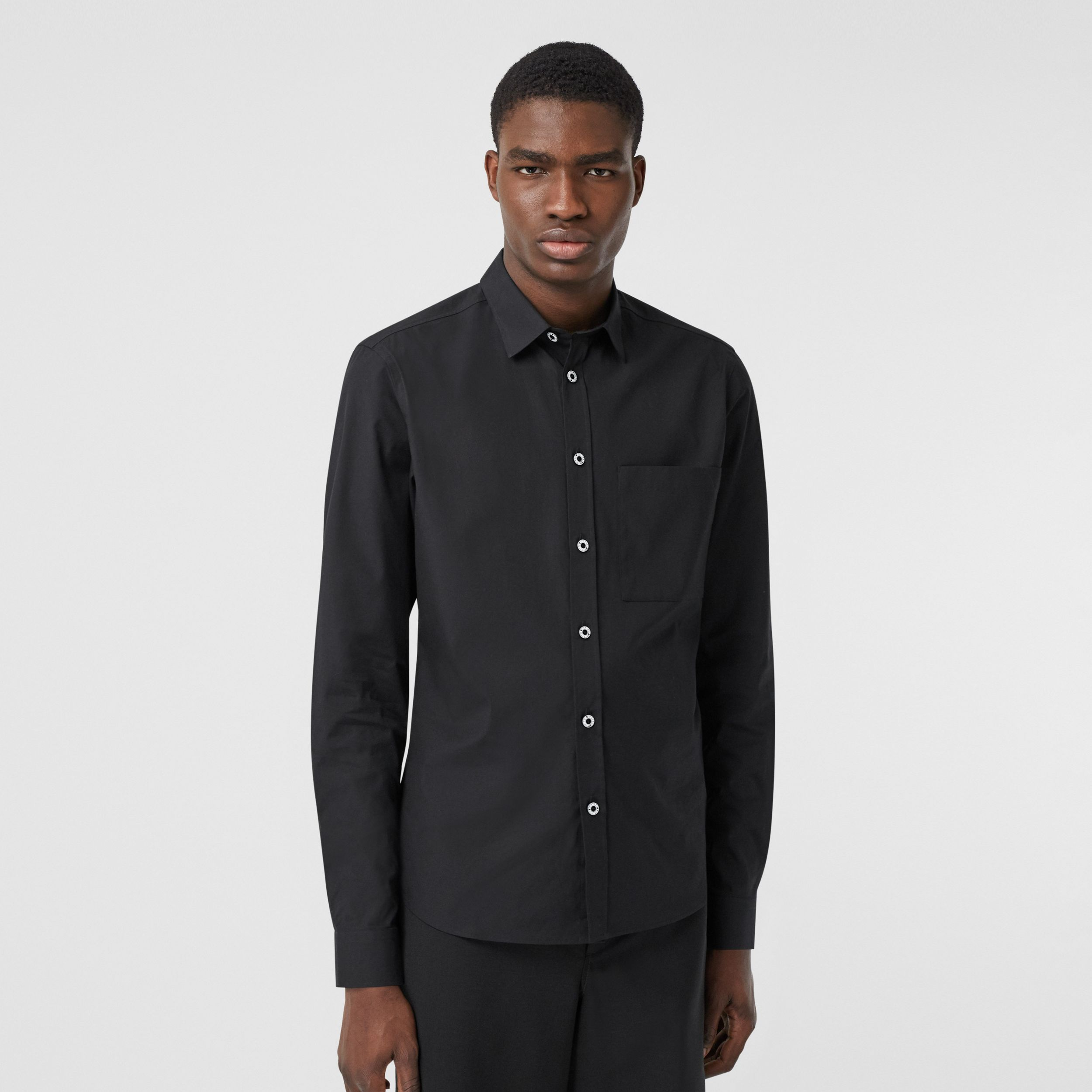 Slim Fit Stretch Cotton Poplin Shirt in Black - Men | Burberry - 1