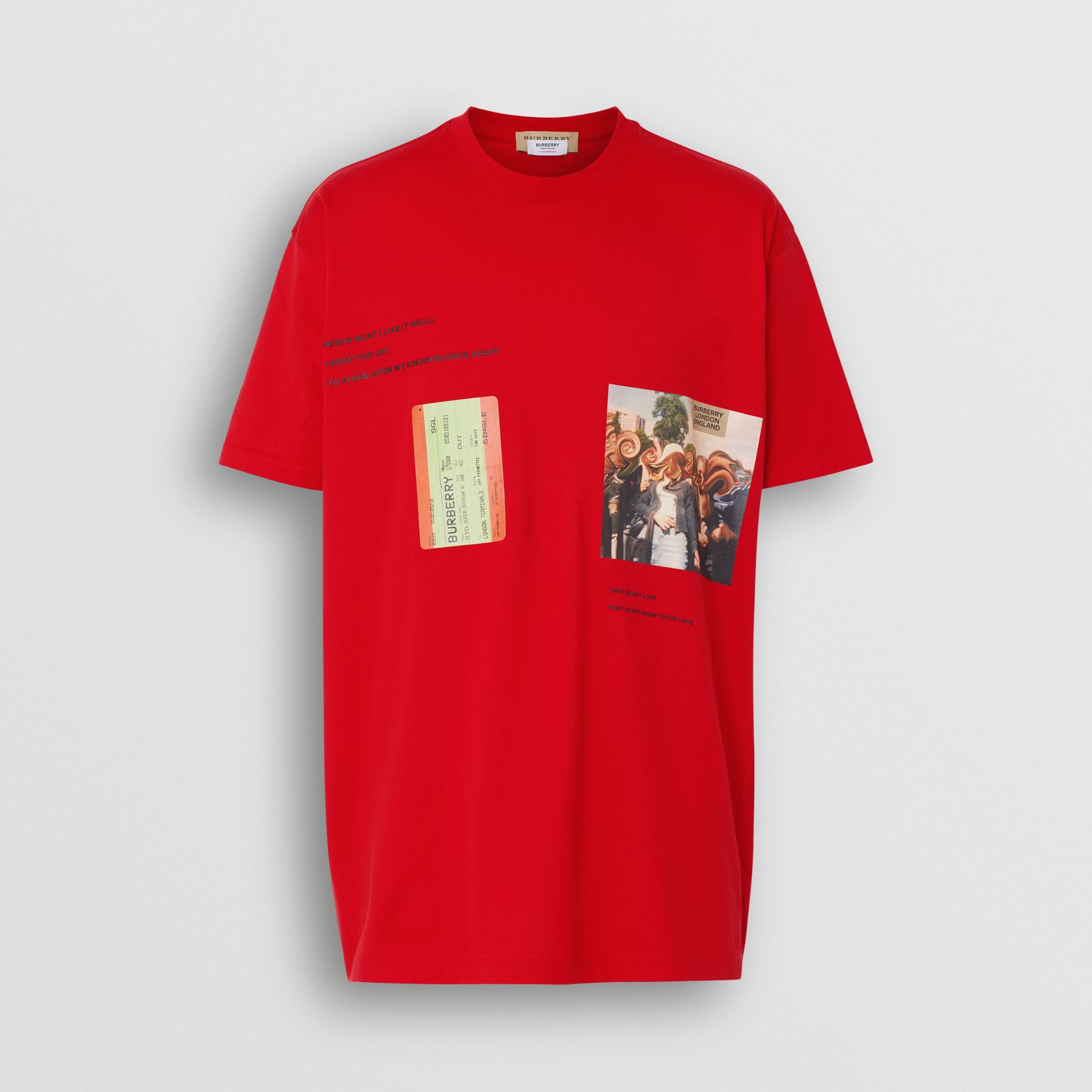 Montage Print Cotton Oversized T-shirt in Bright Red | Burberry - gallery image 3