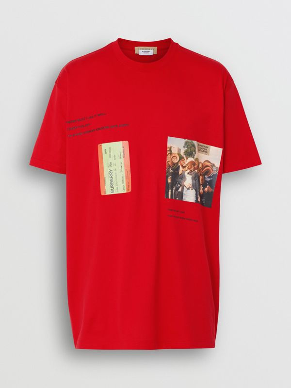 Montage Print Cotton Oversized T-shirt in Bright Red | Burberry - cell image 3
