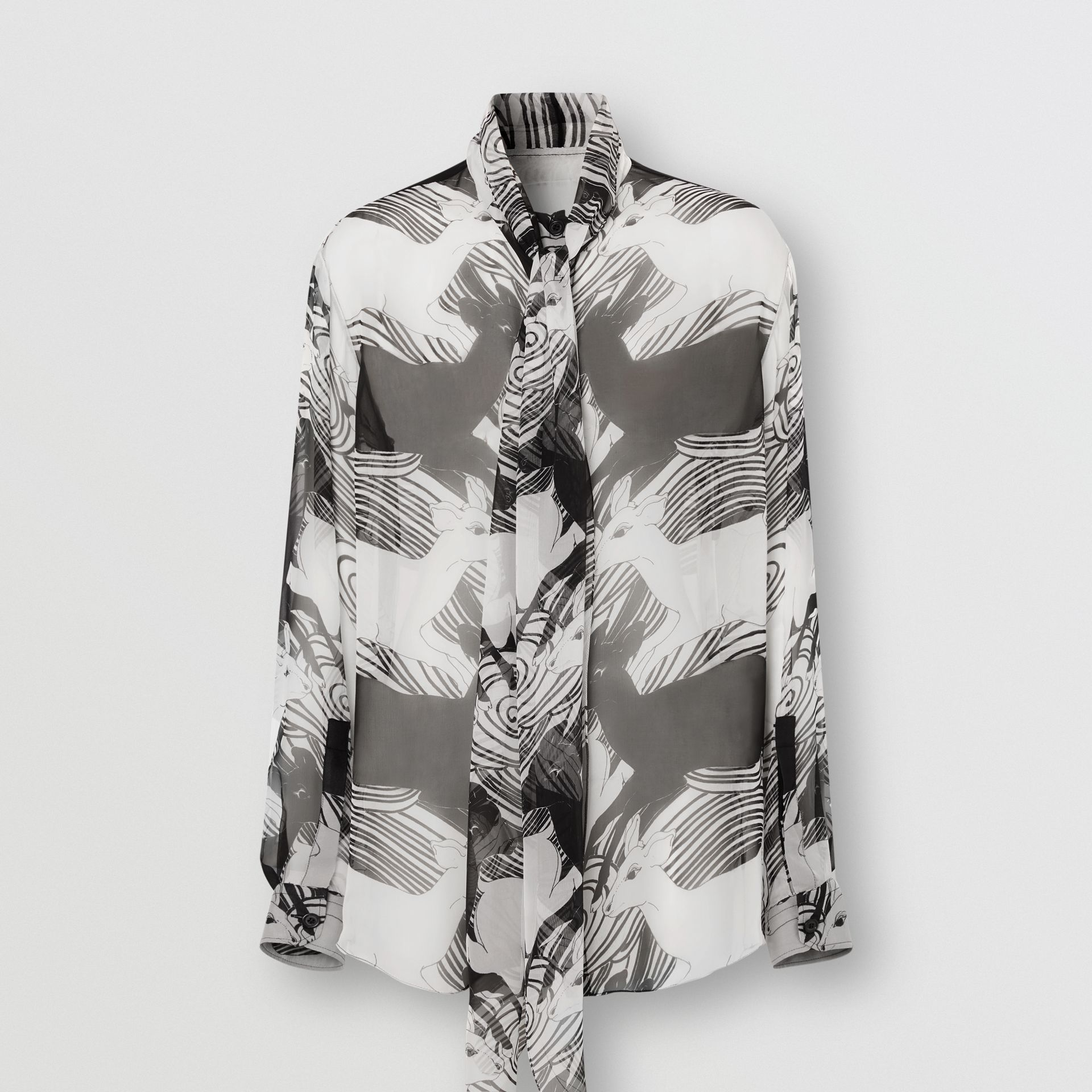 Deer Print Silk Chiffon Pussy-bow Blouse in Monochrome - Women | Burberry - gallery image 3