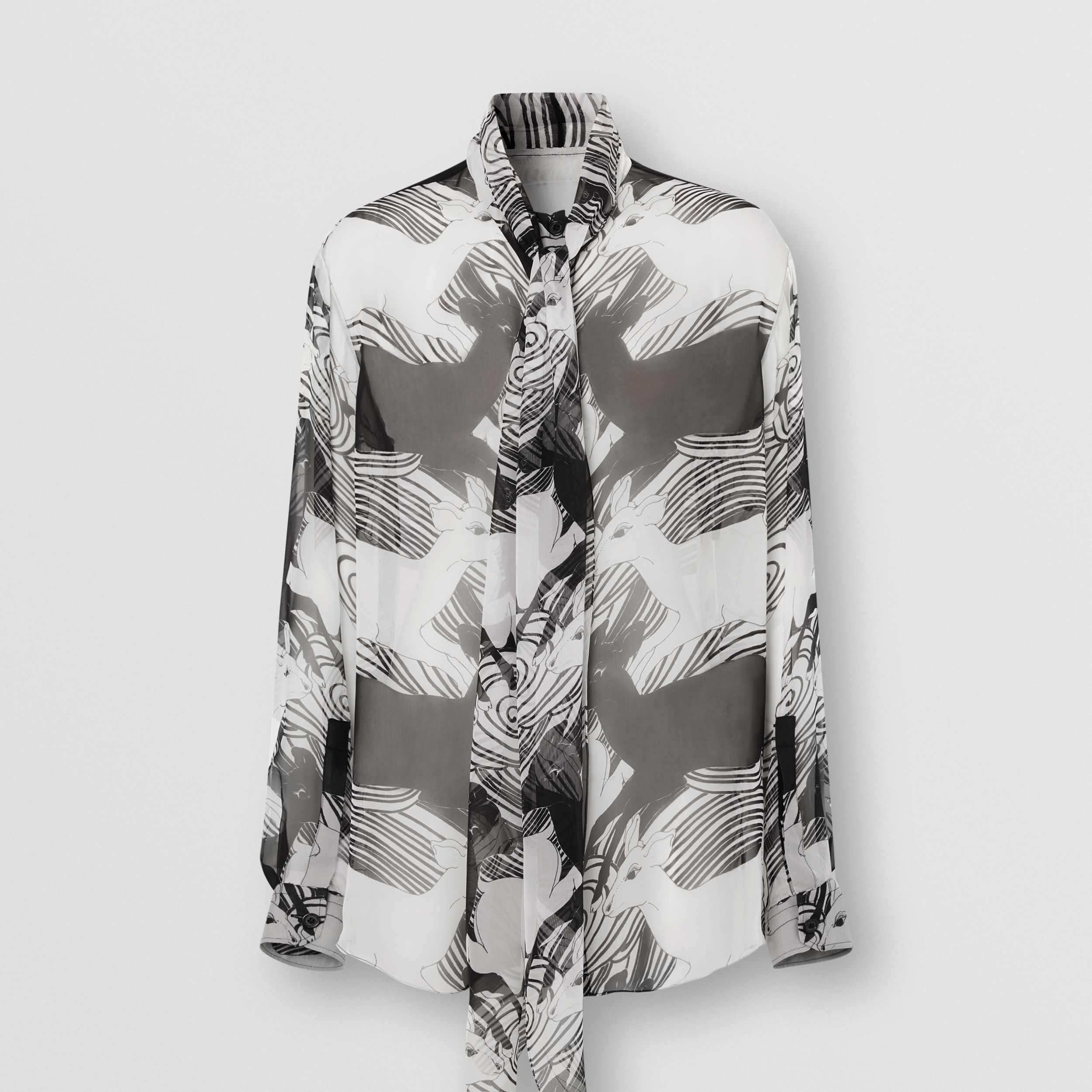 Deer Print Silk Chiffon Pussy-bow Blouse in Monochrome - Women | Burberry Australia - 4