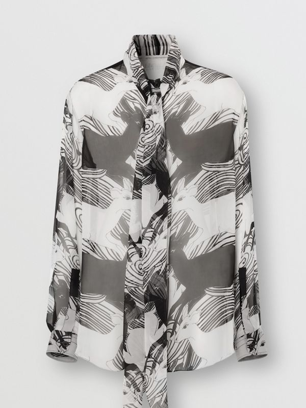 Deer Print Silk Chiffon Pussy-bow Blouse in Monochrome - Women | Burberry - cell image 3