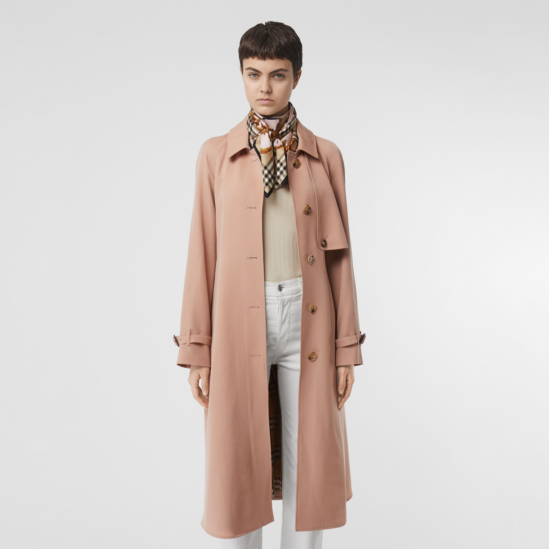 Wool Gabardine Trench Coat in Blush Pink - Women | Burberry - gallery image 7