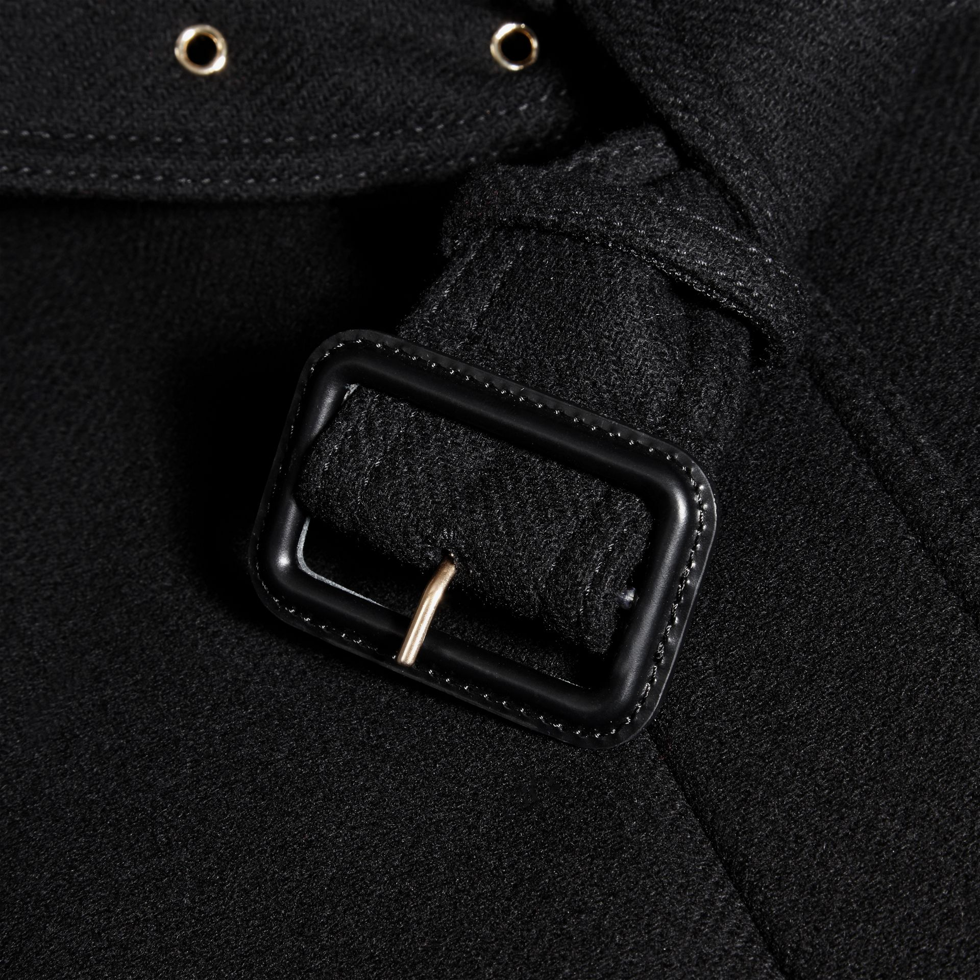 Black Technical Wool Cashmere Funnel Neck Coat Black - gallery image 2