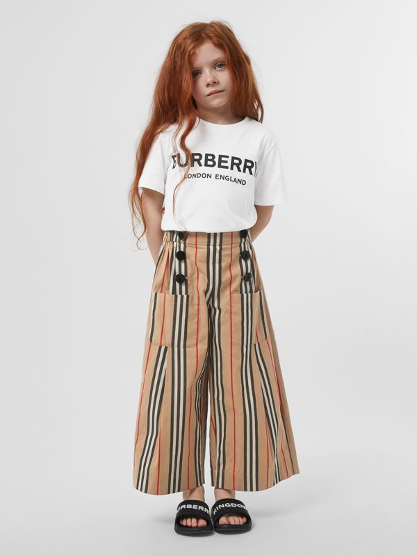 Logo Print Cotton T-shirt in White | Burberry - cell image 2