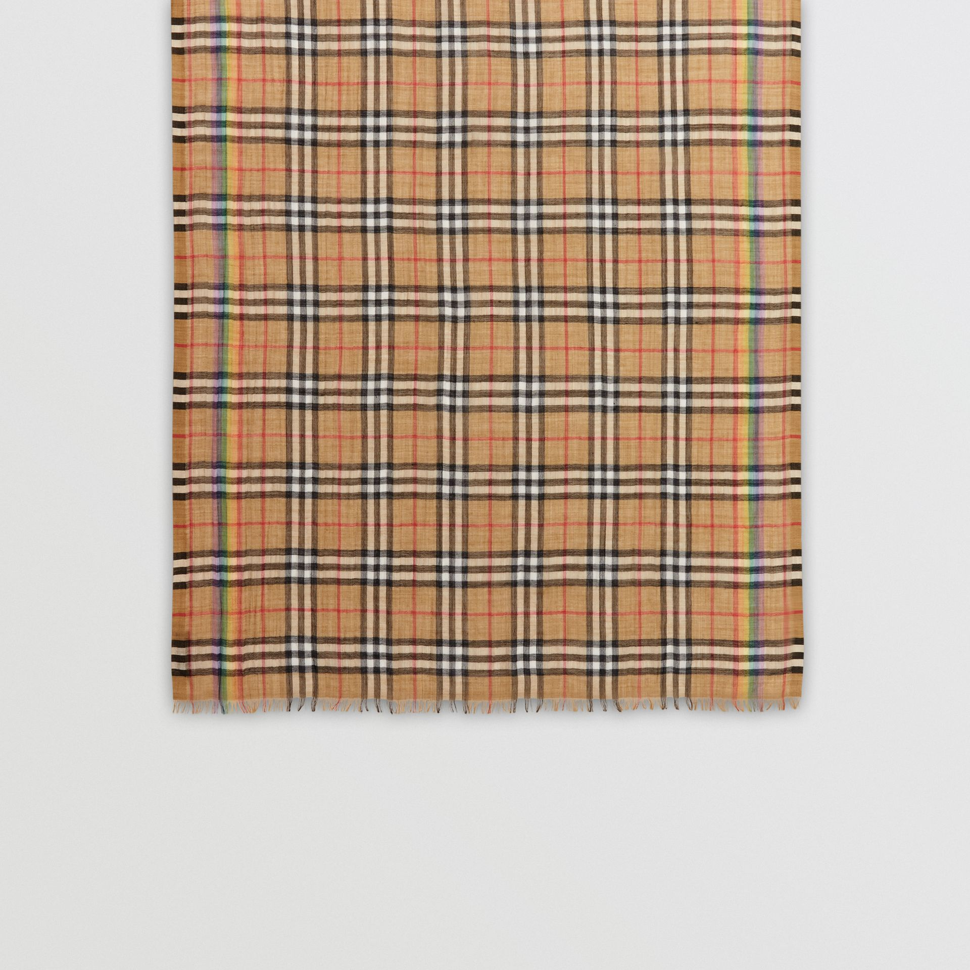 Rainbow Vintage Check Wool Silk Scarf in Antique Yellow/rainbow | Burberry - gallery image 0