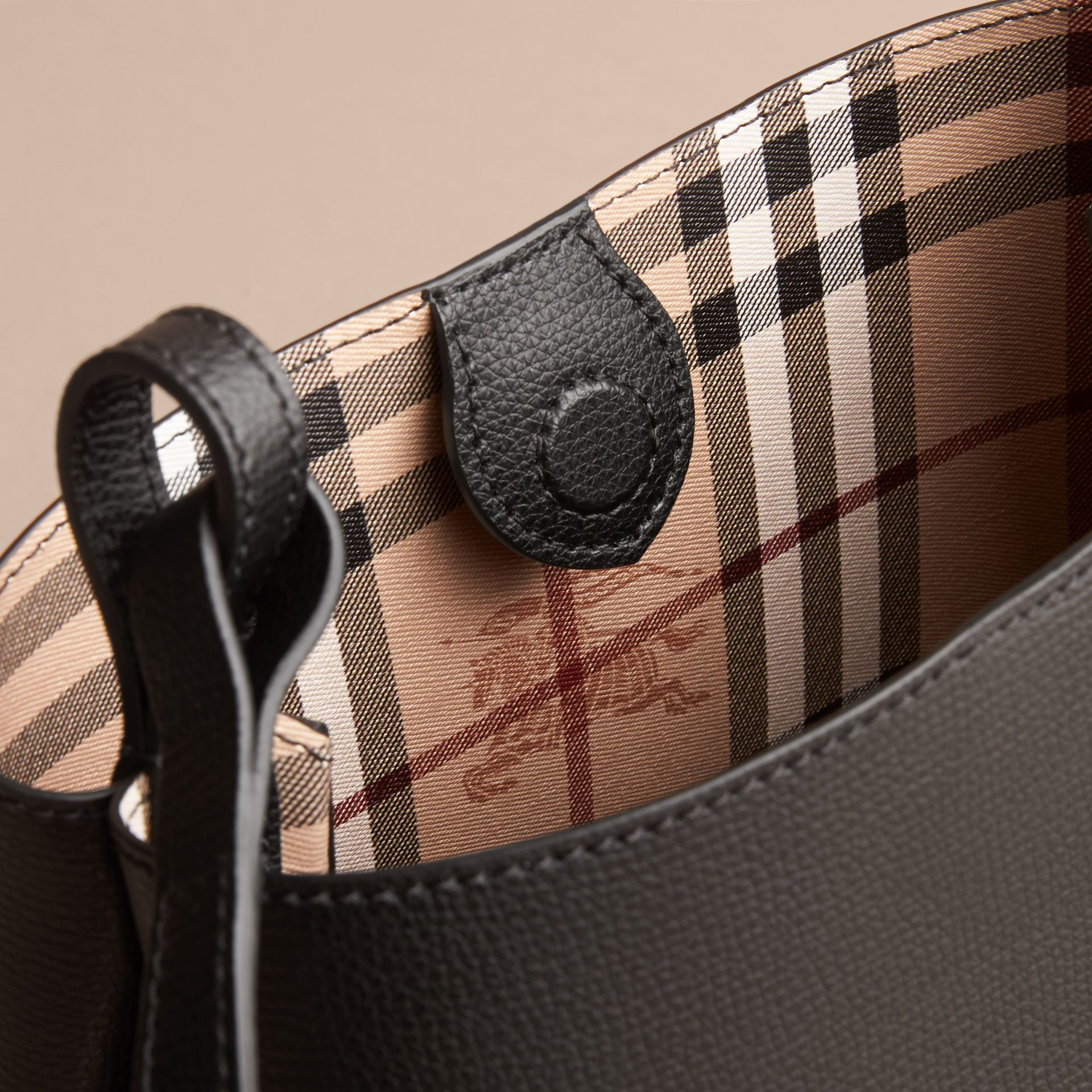 Leather and Haymarket Check Crossbody Bucket Bag in Black - Women | Burberry - gallery image 5
