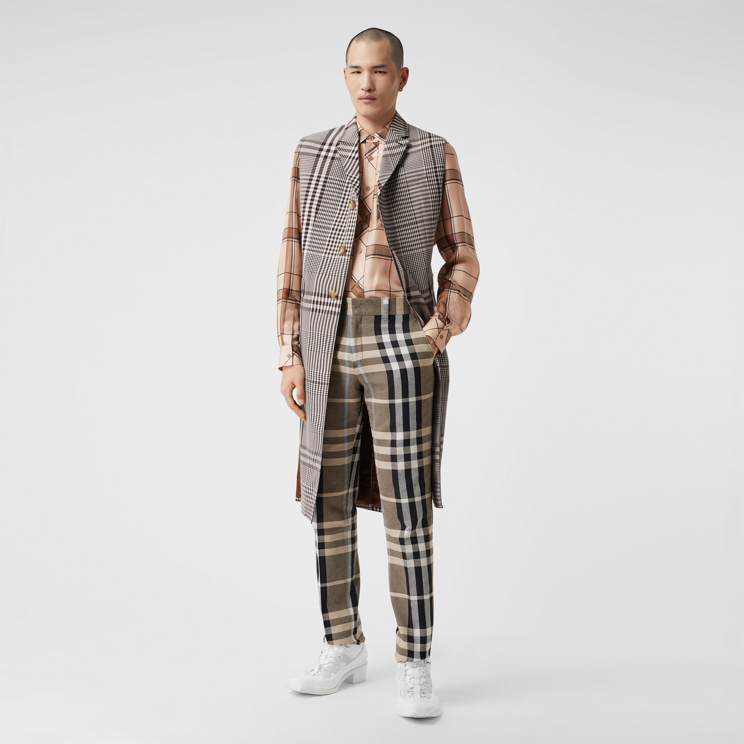 Slim Fit Check Technical Cotton Tailored Trousers in Dusty Sand | Burberry - 1